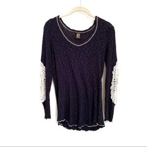 Bobeau Long Sleeve Shirt with Crochet Lace Elbows